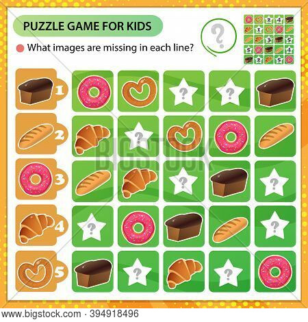 Sudoku Puzzle. What Images Are Missing In Each Line? Baked Goods. Bread, Wheat Loaf, Puff Bun And Ba