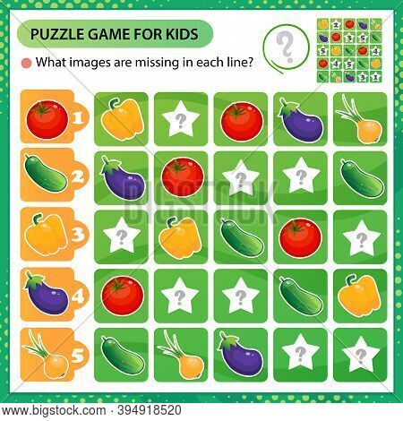 Sudoku Puzzle. What Images Are Missing In Each Line? Vegetables. Pepper, Tomato, Cucumber, Onion, Eg