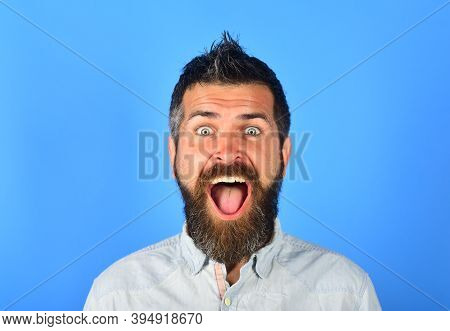 Excited Smiling Man. Bearded Man Portrait. Happy Bearded Man. Smile. Portrait Of Smiling Bearded Man