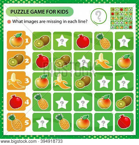 Sudoku Puzzle. What Images Are Missing In Each Line? Fruits. Banana, Garnet, Apple, Pineapple, Kiwi.