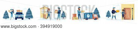 Winter Delivery Bundle Of Scenes With People Characters. Express Parcel And Package Delivery Service