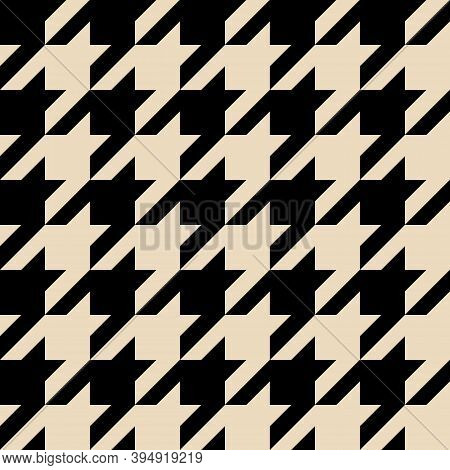 Houndstooth Pattern Seamless. Checkered Background In Black And Ivory Color. Vector Design. Geometri