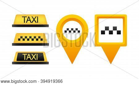 Taxi Flat Roof Sign. Icon Set Taxi Sign On Blue Background. Taxi Sign On The Roof Of Car. Vector Ill
