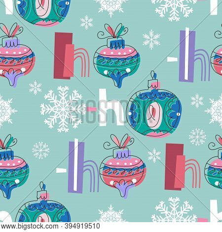 Ho-ho-ho !- Text, Hand Drawn Brush Lettering. Holiday Funny Seamless Pattern With Laughter Of Santa