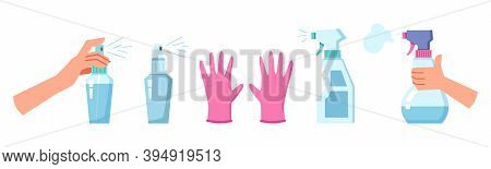 Cleaning And Disinfection Set, Antiseptic Disinfect Spray And Rubber Gloves Isolated. Vector Coronav