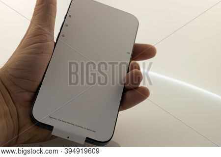 Frankfurt, Germany - November 13th 2020: A German Photographer Bought The New Iphone 12 Pro Max In T