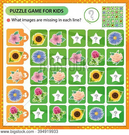 Sudoku Puzzle. What Images Are Missing In Each Line? Flowers. Rose, Sunflower, Mallow, Aster, Clover