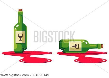 Set With A Bottle Of Wine That Is Smashed. Puddle Of Alcohol. Damage To The Store. Flat Vector Illus