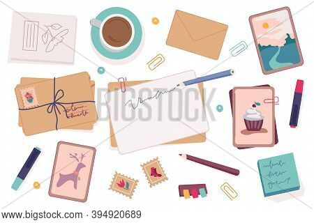 Writers Set Of Postcards And Envelopes, Decorative Pencils And Pens For Writing. Coffee Or Tea In Cu