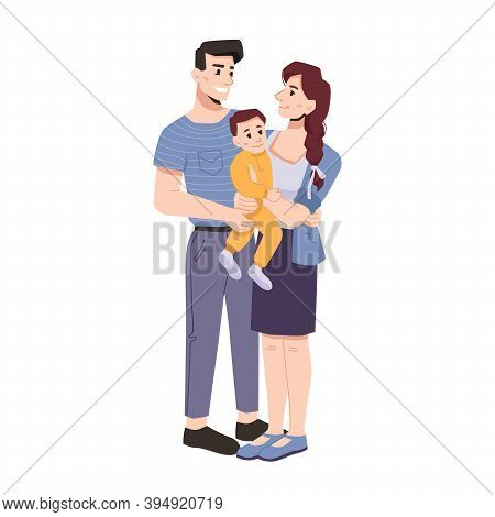 Parents And Kid, Happy Young Family Consisting Of Dad, Mom And Toddler. Isolated Youth With Baby On