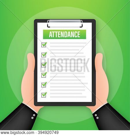 Attendance Clipboard With Checklist. Businessman Holding Document. Questionnaire, Survey. Vector Sto