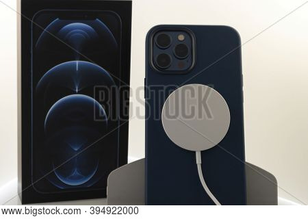 Frankfurt, Germany - November 13th 2020: A German Photographer Bought The New Iphone 12 Pro Max With