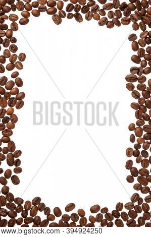 Frame made from black coffee beans isolated on white background