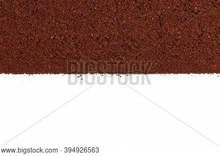 Coffee Grind Texture Background, Close-up. Ground Coffee Brown Background, Wood Grain Texture.