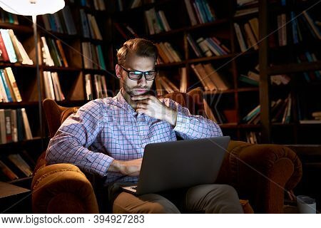 Serious Focused Busy Young Business Man Student Using Laptop Computer Working Or Studying Late E Lea