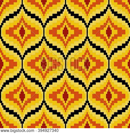 Bargello Seamless Vector Pattern In Yellow And Red Colors, Traditional Italian Embroidery Background
