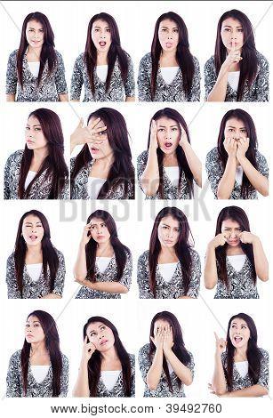 asiatische Frau nützliche Gesichter isoliert weiß