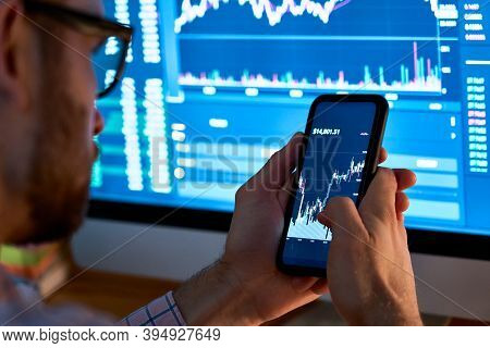 Business Man Trader Investor Analyst Using Mobile Phone App Analytics For Cryptocurrency Financial S