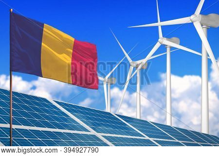 Chad Solar And Wind Energy, Renewable Energy Concept With Windmills - Renewable Energy Against Globa