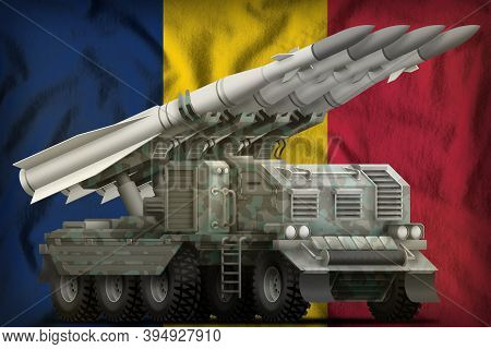 Tactical Short Range Ballistic Missile With Arctic Camouflage On The Chad Flag Background. 3d Illust