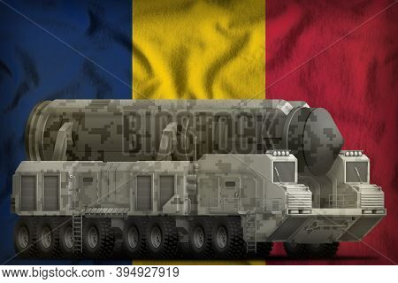 Intercontinental Ballistic Missile With City Camouflage On The Chad Flag Background. 3d Illustration