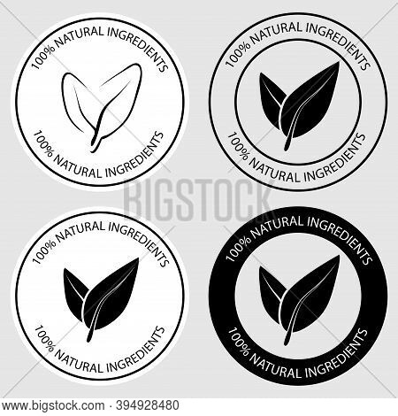 100 Percent Natural Round Icons. Set Of Round Stamps With Leaves Inside For Product With Natural Ing