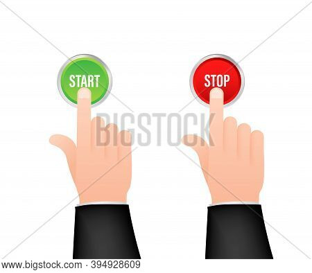 Hand With Finger Press Start Stop Green And Red Button. Click Sign. Hand Click. Vector Stock Illustr