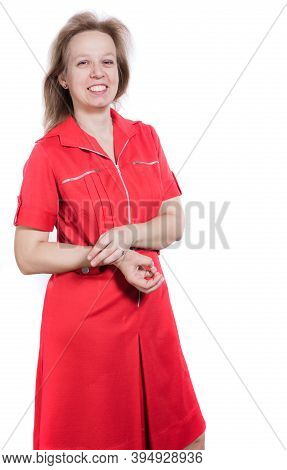 Cheerful 40 Years Old Woman In Red Dress Studio Portrait On White Background.