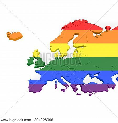 3d Illustration Of A Map Of Europe In Lgbt Colors Isolated On A White Background