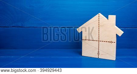 House With Marked Cut Lines. Fair Division Of Property Ownership In Case Of Divorce Or Inheritance.