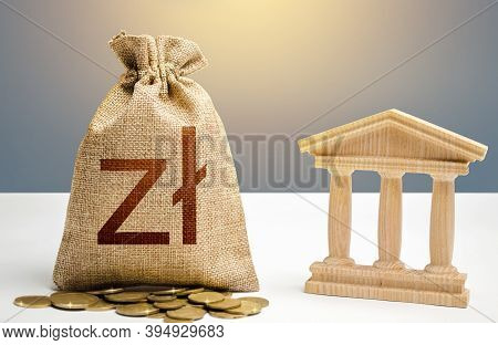 Polish Zloty Money Bag And Bank / Government Building. Budgeting, National Financial System. Resourc