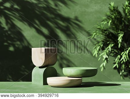 3d  Wooden Podium Display With Leaf Shadow. Copy Space Green Background. Cosmetics Or Beauty Product