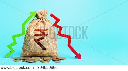 Indian Rupee Money Bag And Two Arrows Of Profit Loss. Income Expense. Debit And Credit. Financial Fl
