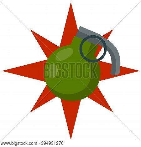 Grenade Explosion. Green Bomb. Weapons And Bombshell. Red Flash. Soldiers Equipment And Ammunition.