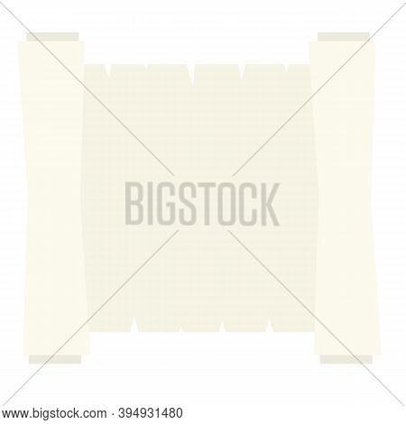 Blank Sheet Of Paper With Roll. Cartoon Flat Illustration. Place For Text And Template. Ancient Scro
