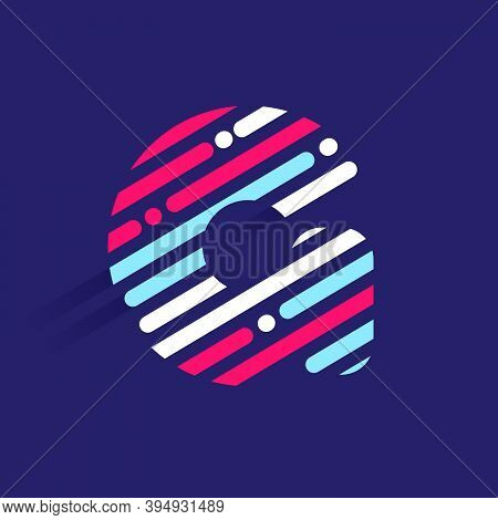 Fast Speed G Letter Logo With Incline Lines And Dots. Vector Template Perfect To Use In Your Sport T