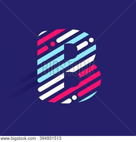 Fast Speed B Letter Logo With Incline Lines And Dots. Vector Template Perfect To Use In Your Sport T