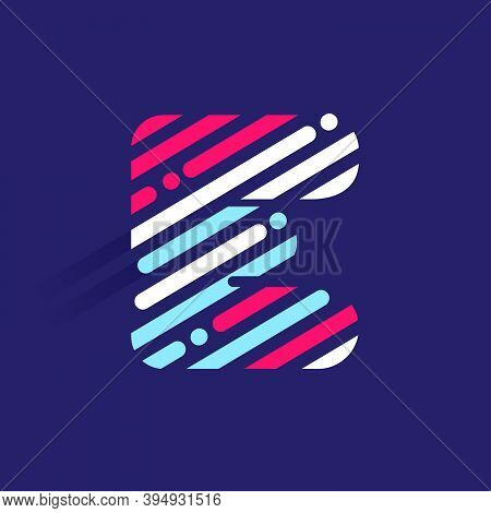 Fast Speed E Letter Logo With Incline Lines And Dots. Vector Template Perfect To Use In Your Sport T
