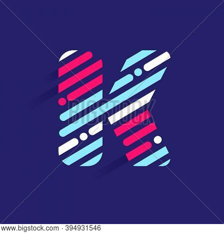 Fast Speed K Letter Logo With Incline Lines And Dots. Vector Template Perfect To Use In Your Sport T
