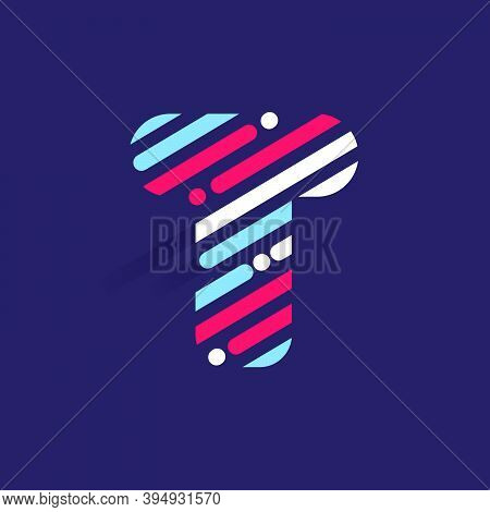 Fast Speed T Letter Logo With Incline Lines And Dots. Vector Template Perfect To Use In Your Sport T