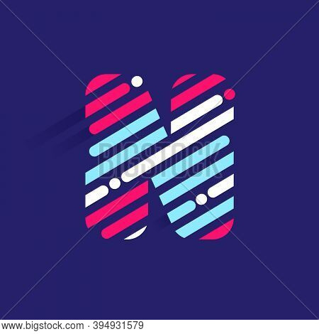 Fast Speed N Letter Logo With Incline Lines And Dots. Vector Template Perfect To Use In Your Sport T