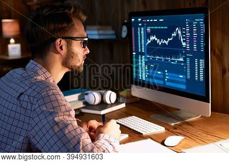 Serious Business Man Trader Analyst Looking At Computer Monitor, Investor Broker Analyzing Indexes,