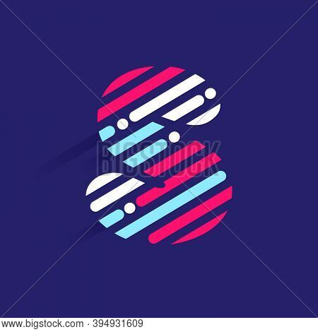 Fast Speed S Letter Logo With Incline Lines And Dots. Vector Template Perfect To Use In Your Sport T