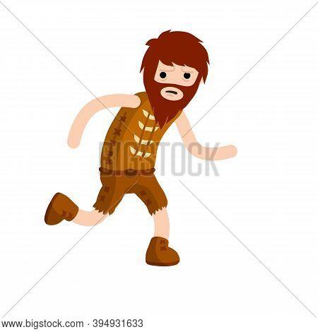 Primitive Caveman. Neanderthal Man Run. Cartoon Flat Illustration.
