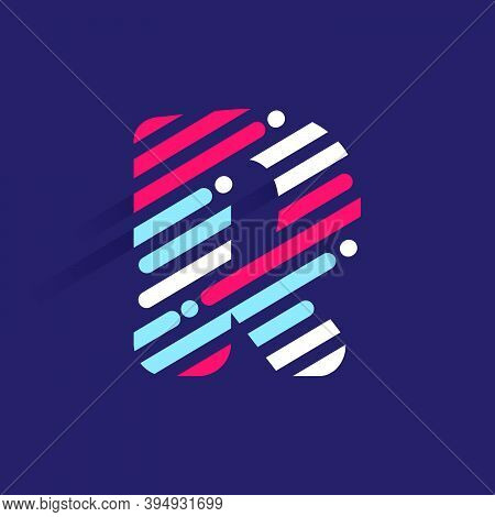 Fast Speed R Letter Logo With Incline Lines And Dots. Vector Template Perfect To Use In Your Sport T