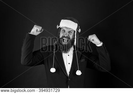 Power Of Xmas. Strong Santa Flex Arms. Bearded Man In Xmas Style. Happy Businessman In Santa Hat Sho