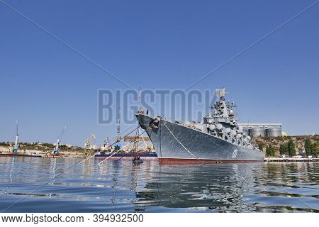 Sevastopol, Russia - September 26, 2020: Missile Cruiser Moscow Is Moored In The Port Of Sevastopol.