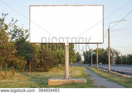 Advertising Billboard Metal, Large Horizontal. Billboard Mockup Outdoors. With Clipping Path On Scre