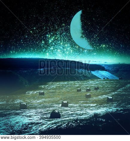 Mountain Farm Landscape With A Field Under The Moon And Stars. The Beauty Of The Mountain Scenery. E