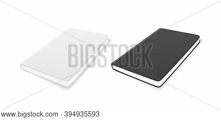 Vector 3d Realistic White And Black Closed Blank Paper Notebook Set Isolated On White Background. De